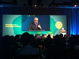 Former U.S. Secretary of Commerce, Carlos Gutierrez giving the keynote speech at last year's conference.