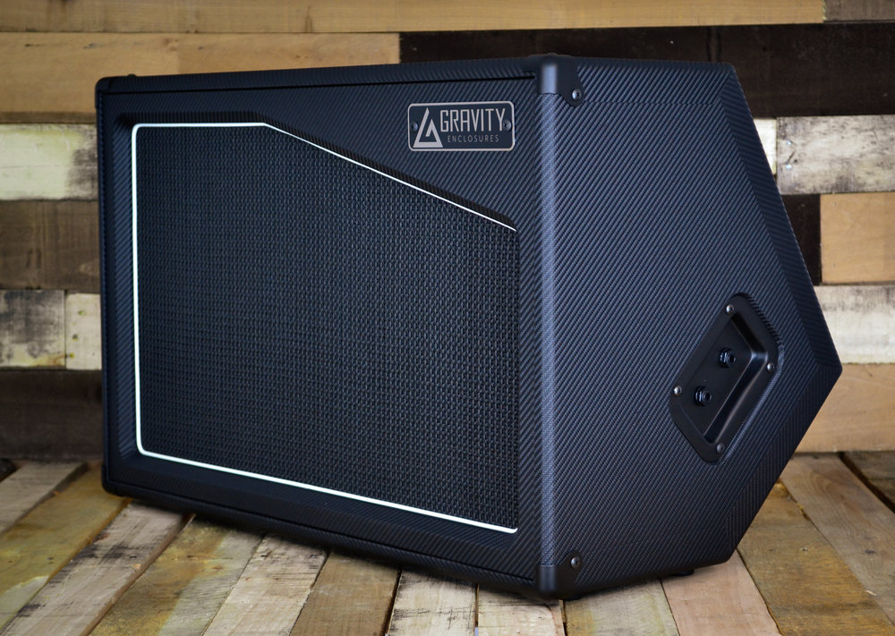 """The """"Antilles"""" Wedge - Designed for the Modeler crowd, this 250w (500w Program) handling FRFR wedge will be available in both a powered and unpowered version. Made of 15mm voidless Baltic Birch and finished with metal hardware, this cab resonates like a normal guitar cabinet and weighs in at a mere 36lbs (unpowered)."""