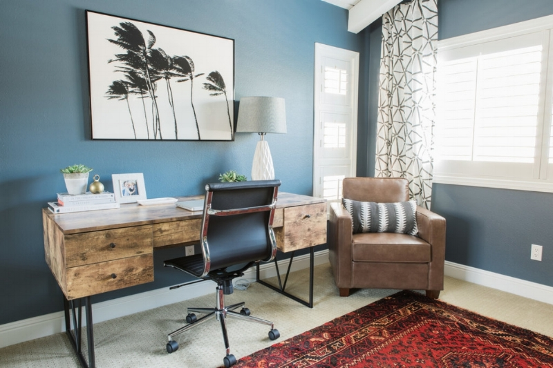 Moody and Eclectic Office Reveal - Lindsey Brooke Design - Southern California Interior Designer.