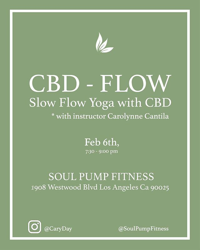 My next CBD Flow class is February 6th. CBD is a component of cannabis that has extraordinary health benefits but without psychoactive effects. Will be posting a video about CBD soon! 💚RSVP and confirm your spot in class here - http://www.soulpumpfitness.com/classes/