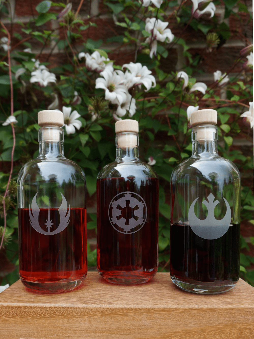 Strawberry, raspberry and blueberry vodka in Star Wars bottles