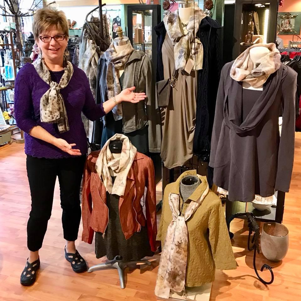 Linda Larsen showing off her gorgeous silk scarves.