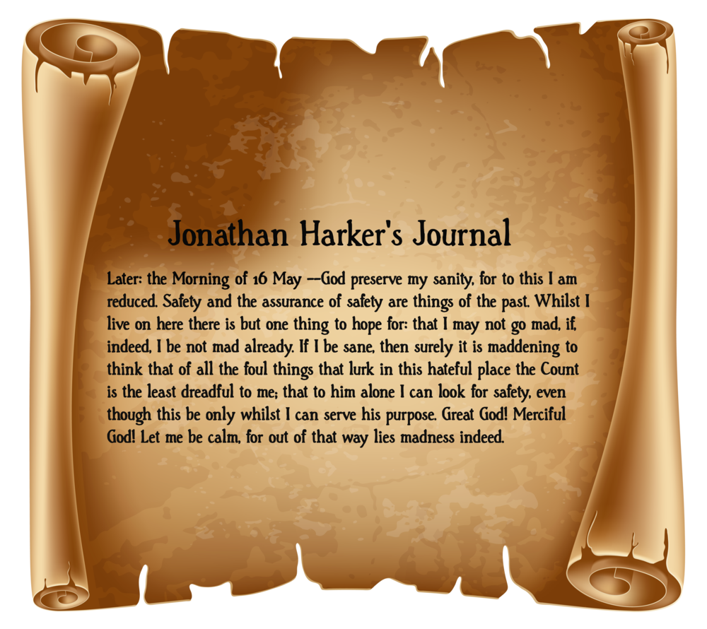 Journal entry by newly qualified solicitor, Jonathan Harker, before realising that Count Dracula has imprisoned him in the castle, gives an inkling of the horror to come.