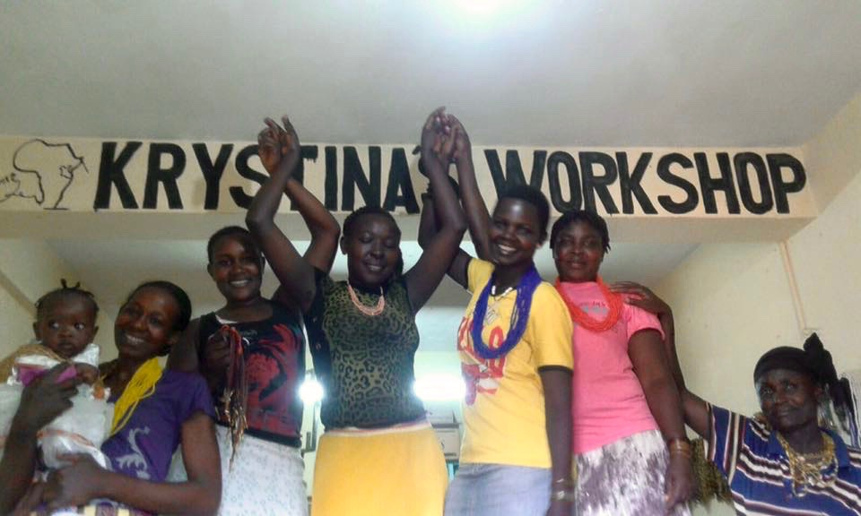 "Jewelers and microloan recipients enjoying a day at The Kipsongo Project's office, named ""Krystina's Workshop"" after the Project's co-founder, Krystina Finn."