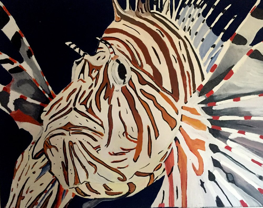Red Lionfish ( Pterois volitans ) Owen O'Shea Acrylic on Canvas