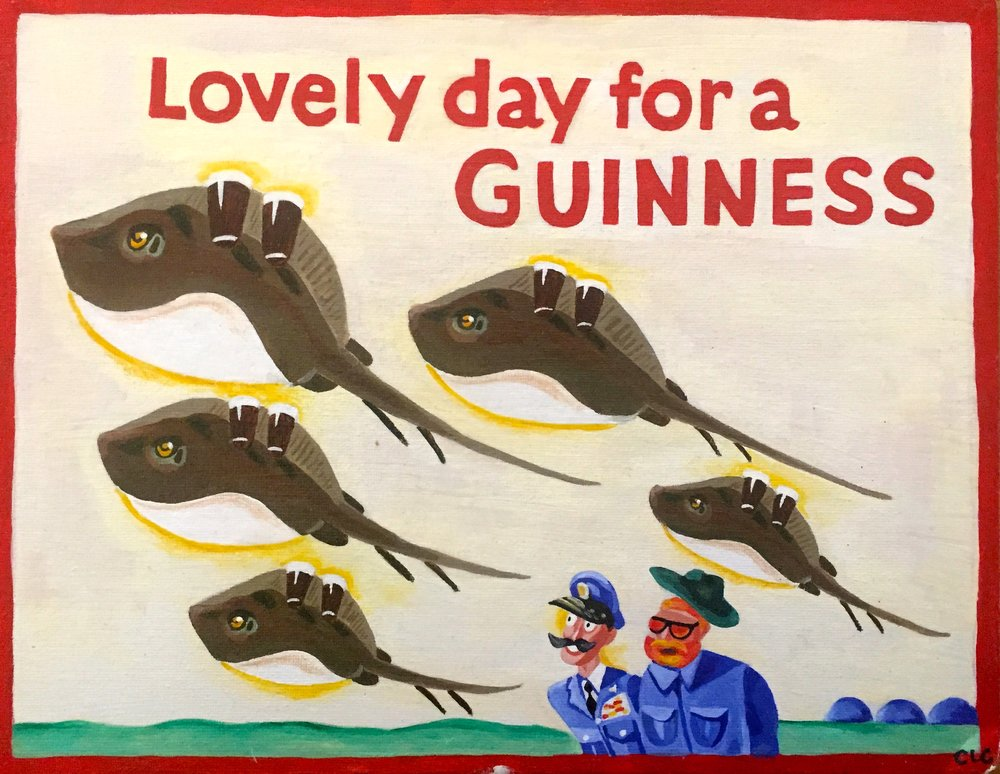 Guinness Stingrays Clara Robison Oil on Board