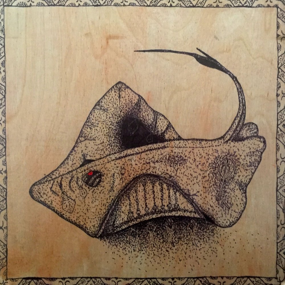 Southern Stingray ( Hypanus americanus ) Cianan Gamble Ink on wood