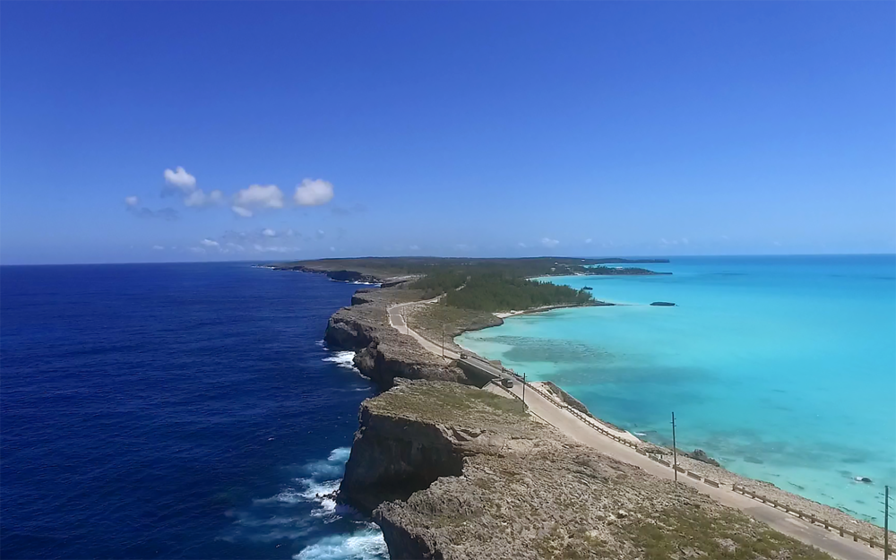 Eleuthera island, straddling the western Atlantic and the Great Bahama Banks