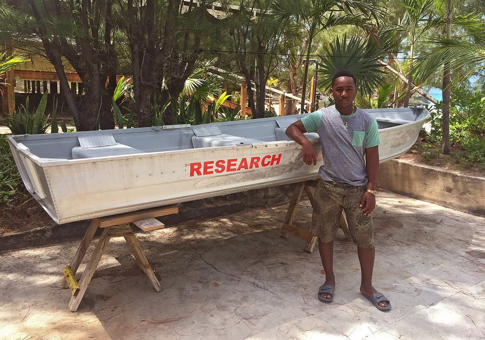 Mattheo Albury with our recently donated 'Research Vessel'