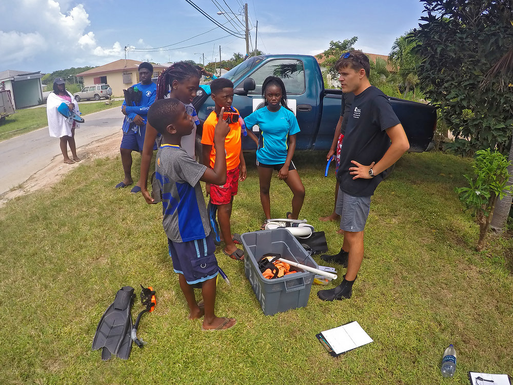 CORE intern Adam Southern preparing his student group prior to their first field experience