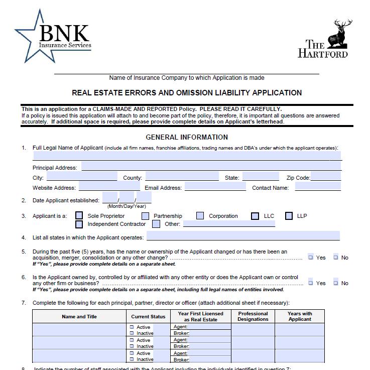 Hartford Real Estate Standard Application -