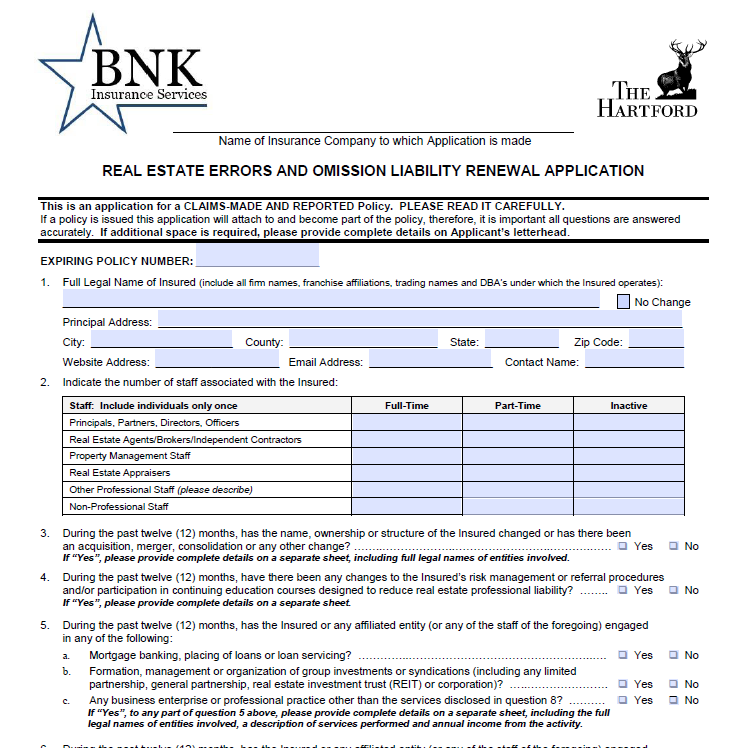 Hartford Real Estate Renewal Application -