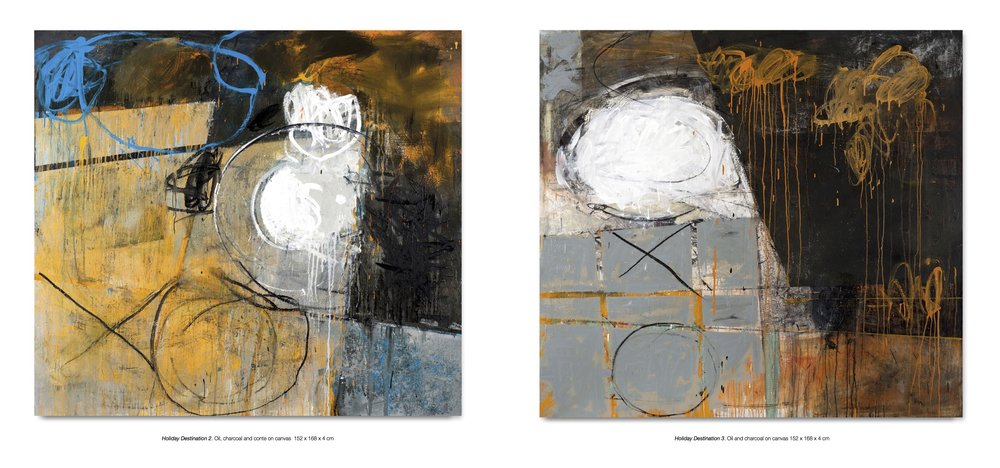 'Holiday Destination 2' and 'Holiday Destination 3' by Day Bowman. Oil, charcoal and conte on canvas.