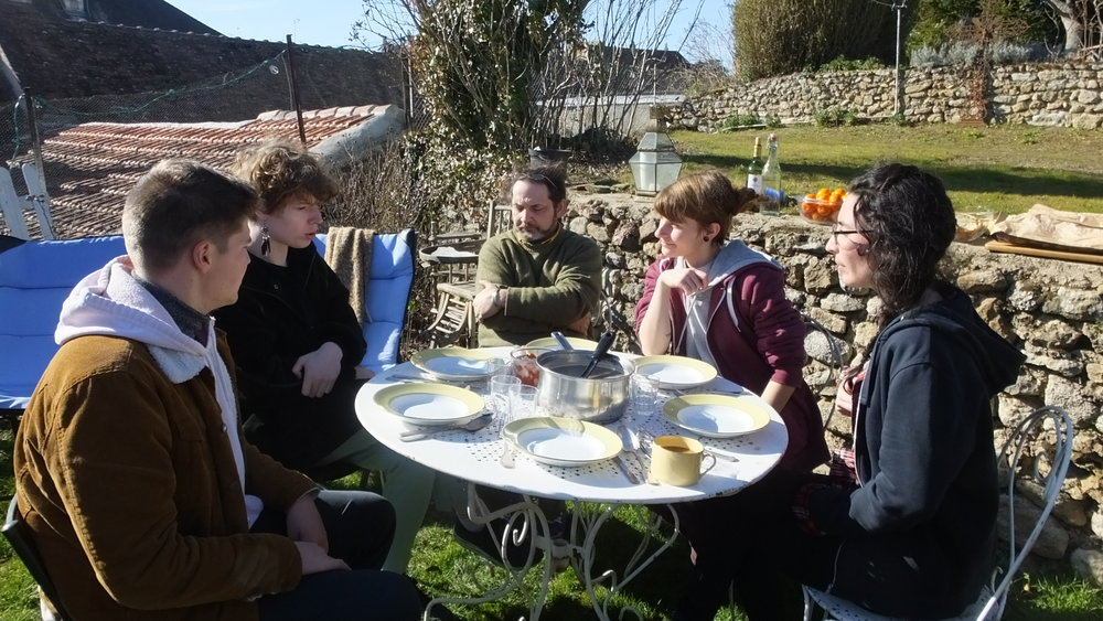 Lunch in the garden in shirt sleeves - unseasonably hot weather across france and the uk for february :( Soup!