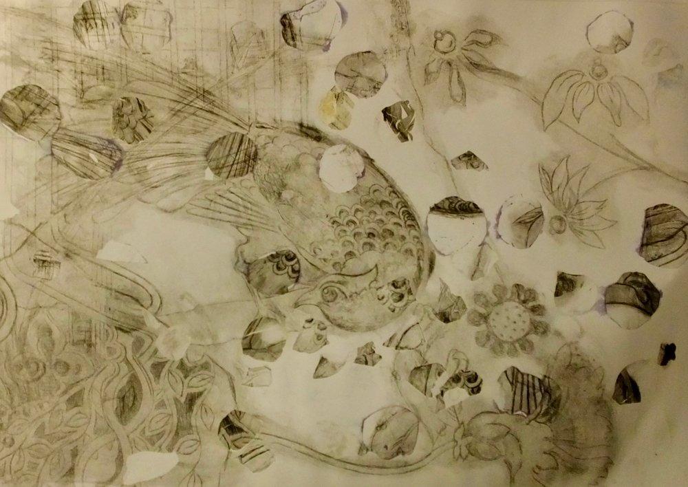 Bird en Colere P3. Rose Petal transfer etching.