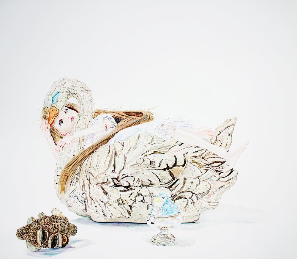 Leda and the Swan. Hancock. Gouache on Paper