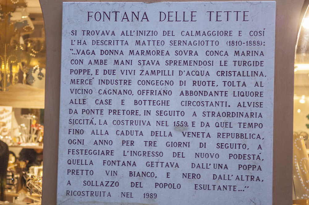 Image: Marble plaque describing the Fontana dele Tette
