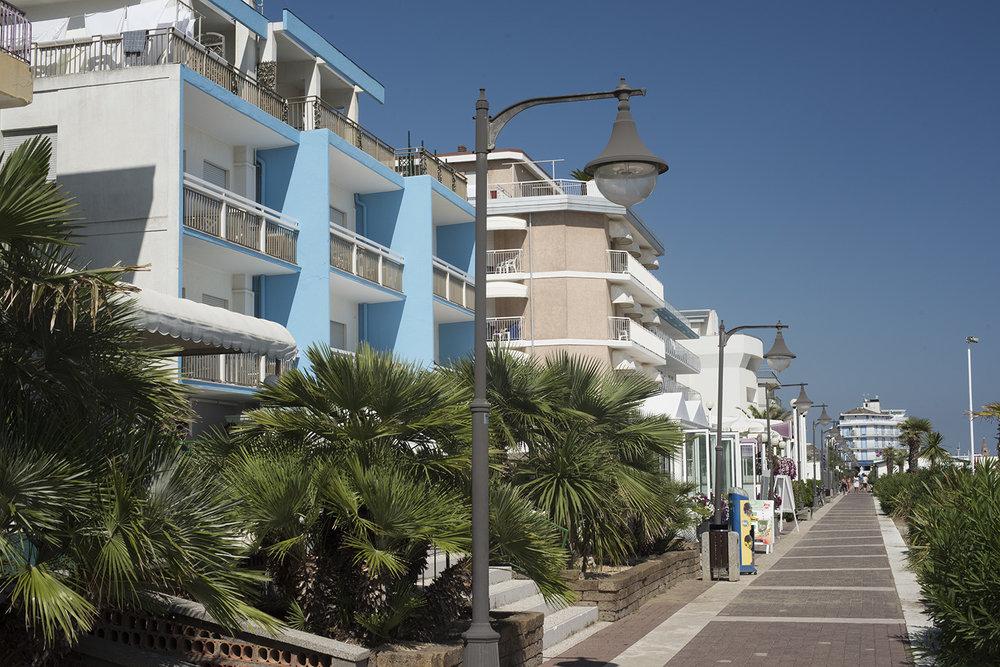 Pedestrian walkway (Lungomare Venezia) that runs between the hotels and the beach