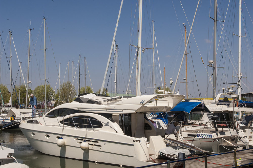 Boats moored in the marina