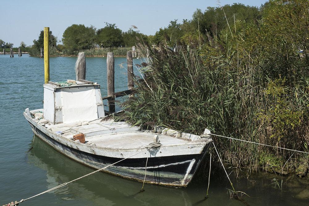 Old fishing boat at mooring near traghetto, Porto Santa Margherita, Veneto