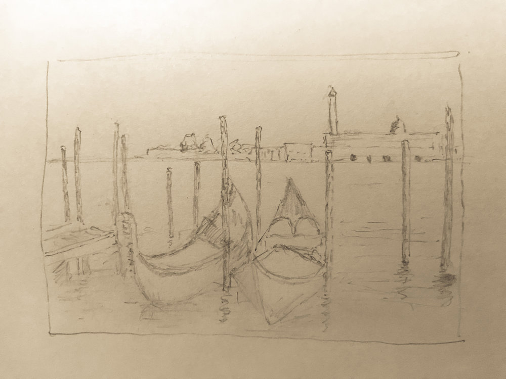 Quick sketch of gondolas on Venice Basin - pencil on normal office paper