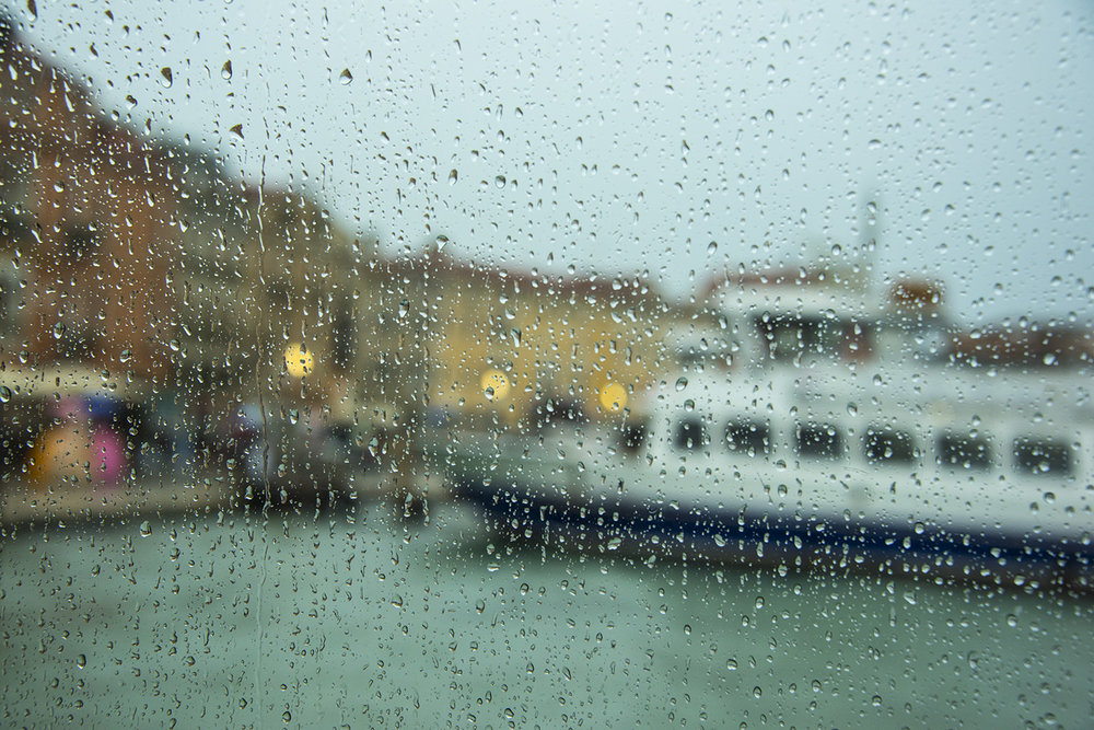 A boat trip to see the islands of Murano and Burano - in the rain!