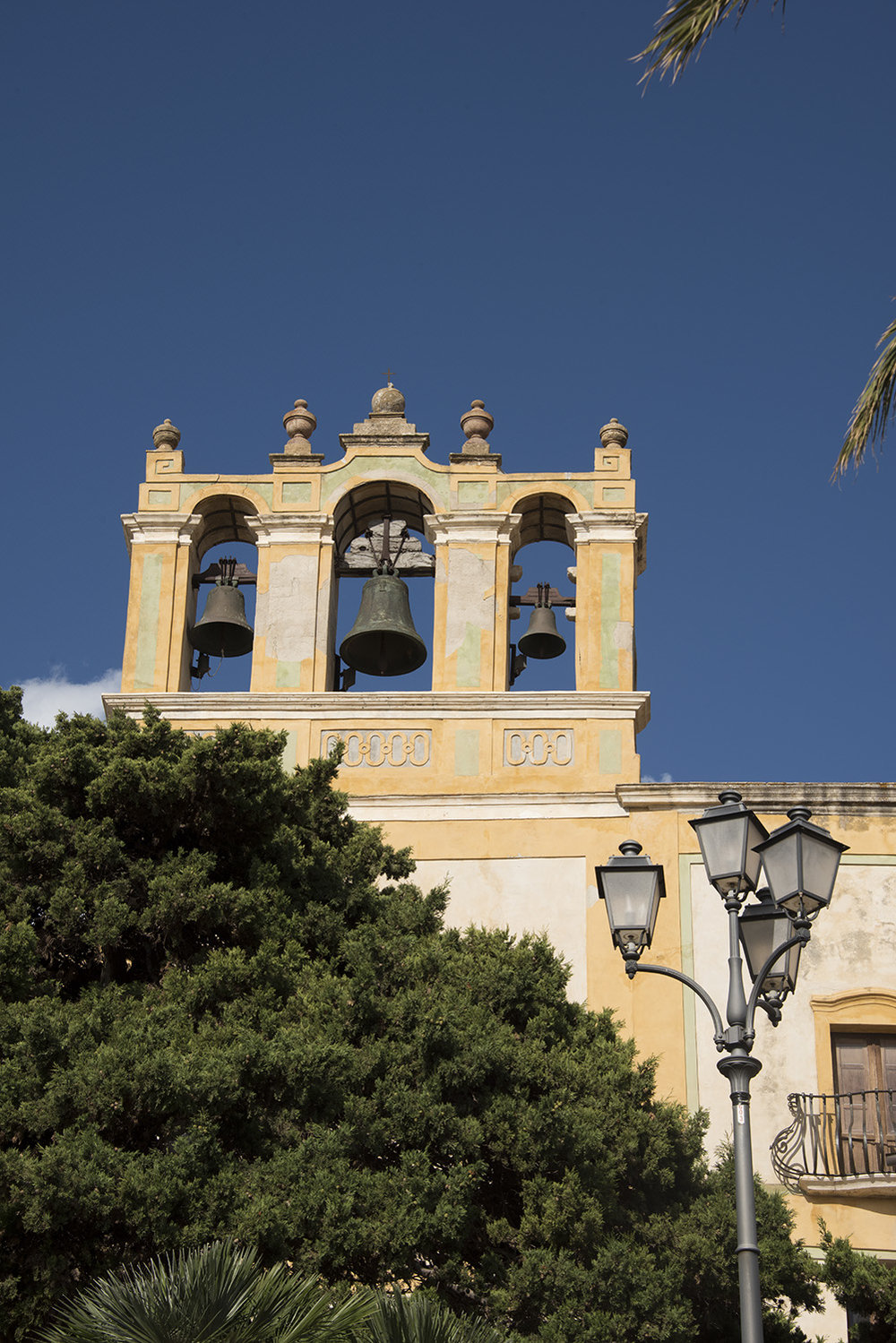 View of the bell tower of the Sanctuary of Maria Santissima of Custonaci, Custonaci, Sicily