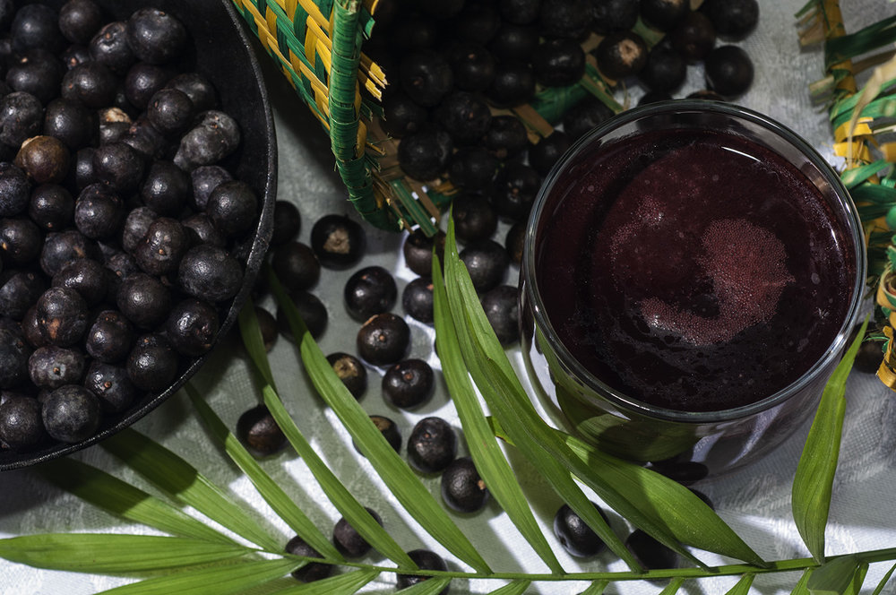 A glass of dilute acai juice with berries and an acai palm leaf (Euterpe oleracea)