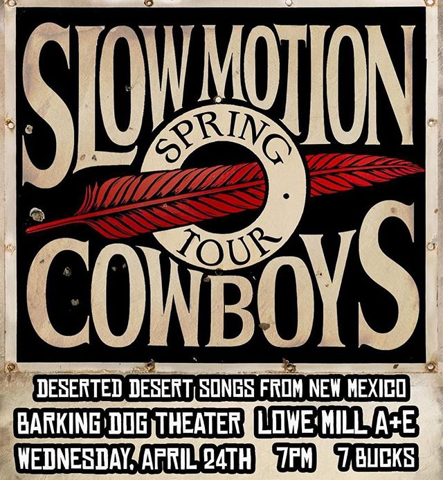 "TONIGHT at 7 in the Barking Dog Arts theater- Slow Motion Cowboy sings deserted desert songs from New Mexico. Also featuring local band The Counterclock Wise playing the ""classics."" BE THERE- we all know you don't have anything else planned on a Wednesday night. $7 . . . #barkingdogarts #barkingdog #slowmotioncowboys #thecounterclockwise #huntsvillemusic #newmexicomusic #huntsville #huntsvilleal #huntsvillealabama #lowemill #lowemillarts #lowemillartsandentertainment @lowemillarts"