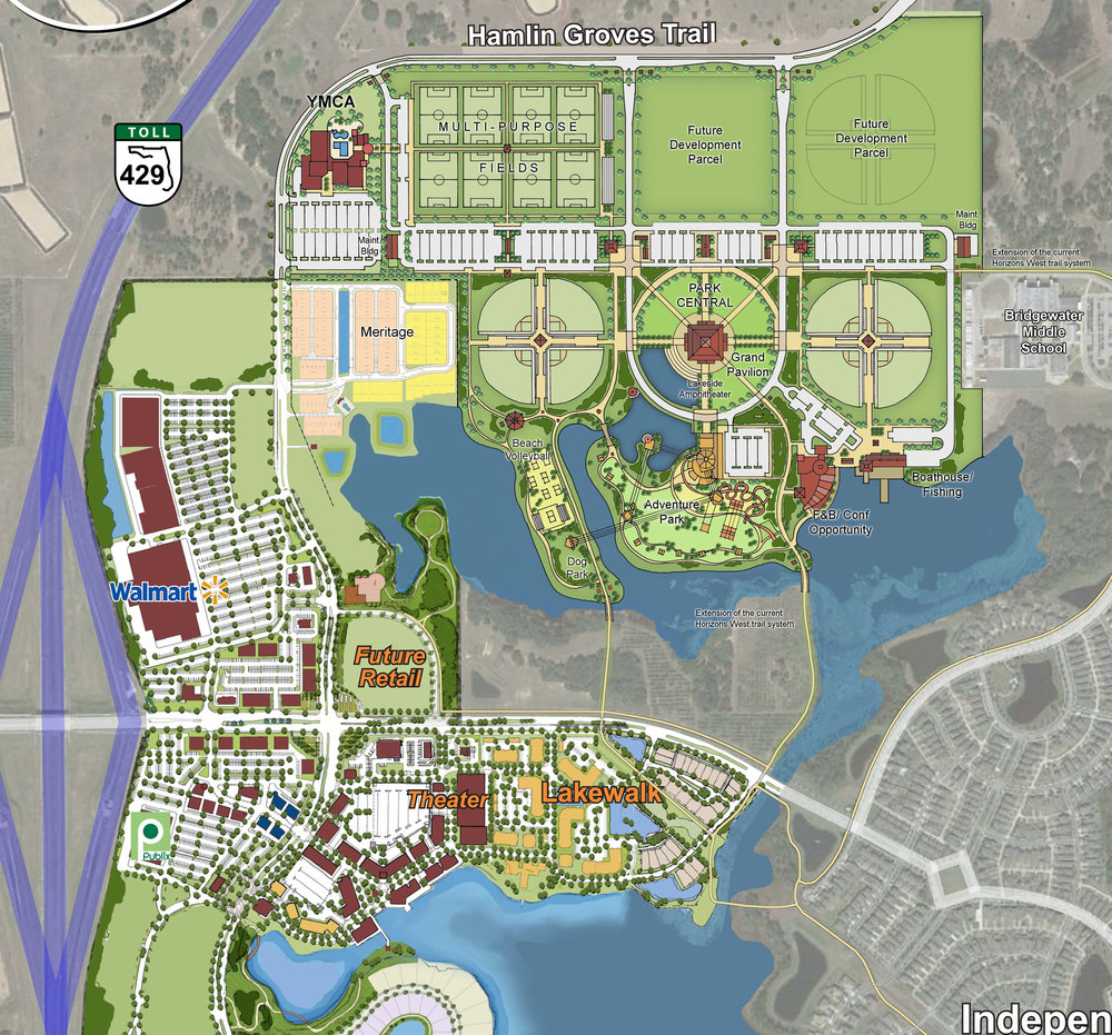 Horizon West Phase I   The L & S Design Team provided a boundary, topographic, tree and wetland survey for the 250 acre Orange County project.