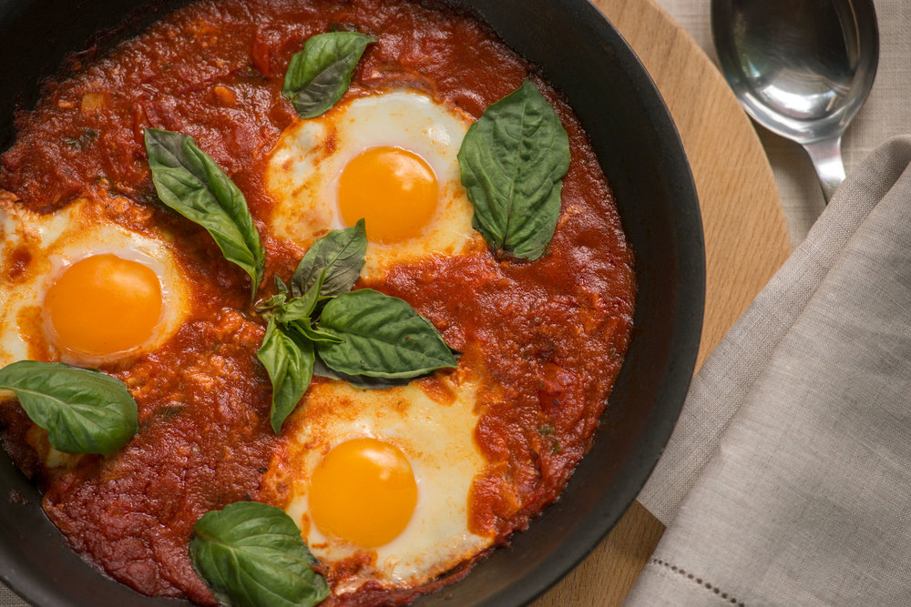 Eggs Simmered with Tomatoes, Garlic & Basil