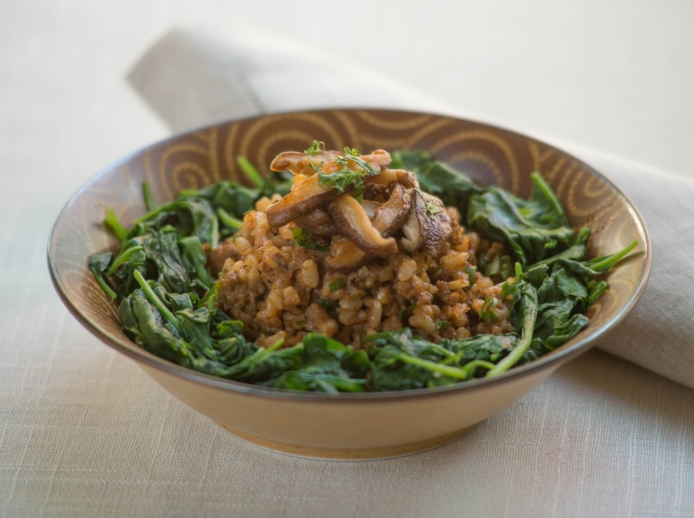 Turkey Rice Bowl with Spinach & Shiitake Mushrooms