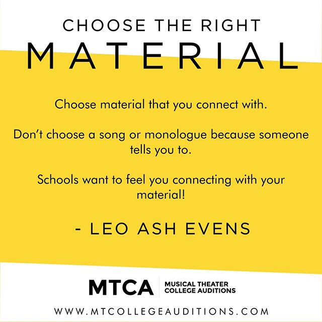 You've gotta select material from the inside-out.  Not from the outside-in.  What internally speaks to you?  Excites you?  Colleges are not casting a show.  They're creating a diverse class.  They're looking for YOU. 👀 @mtcacoachingfam . . . . . . . . . #MTCA #mtcafam #actortips #artistintraining #auditionprocess #collegeauditions #collegeauditioncoach #teachingartists #futureartists #coaching #coachinglife #broadway #musicals #musicaltheater #musicaltheatre #broadwaymusical #theater #theatre #actor #performingarts #thearts #actorlife #drama #singing #actorslife #theaterlife #theaternerd