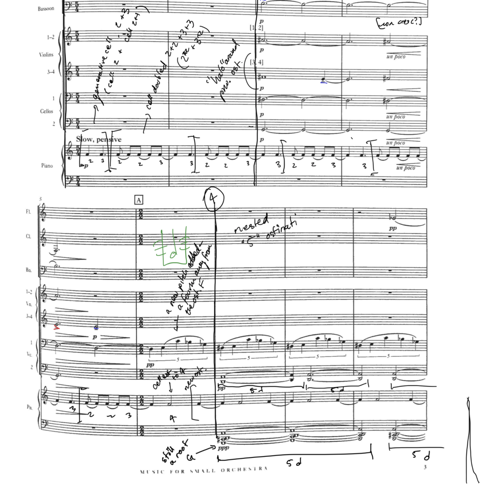 Analyzing some intricate rhythmic planning on the first page of the score.