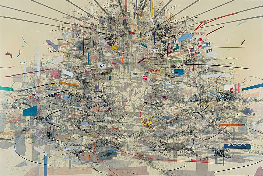 Julie Mehretu,  Empirical Construction, Istanbul  (2002). Image from  Art21 .