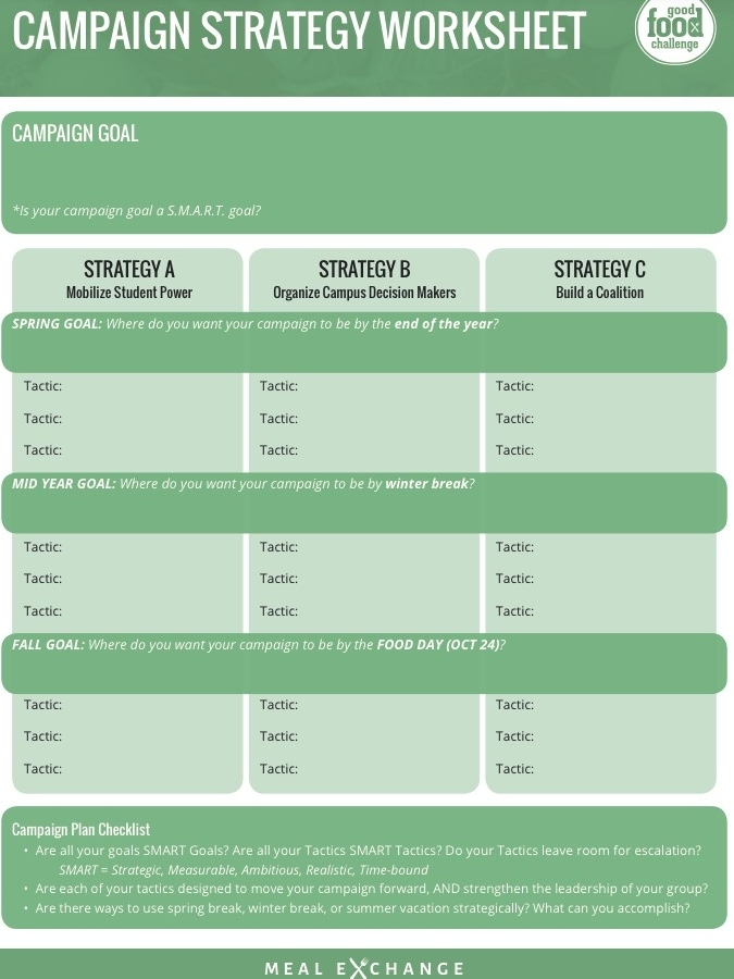 Campaign Strategy Worksheet  -