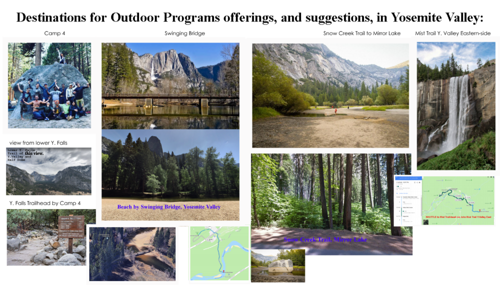 Highlight areas for Outdoor Program activities, Yosemite valley 2018, and subject to change.
