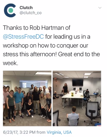 Rob leading a workshop at Clutch - With StressFreeDC