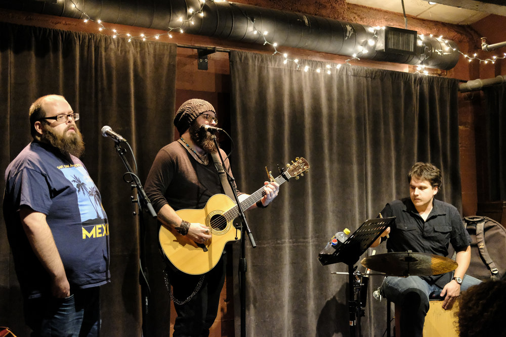 Paul Mauer, Thene Singleton, and David Johnson at Capitol Cider, Seattle, 25 October 2017.