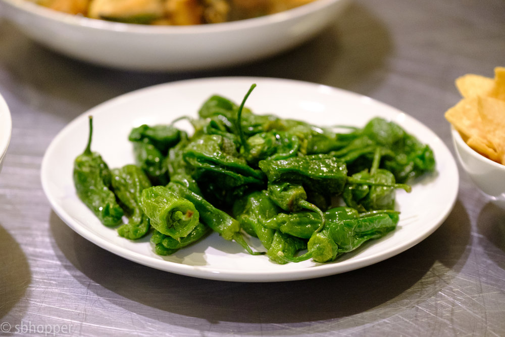 These peppers looked amazing. I think they are Padron Peppers. I asked chef Monica Dimas, but I'll be honest, I was too distracted to remember. On the Boards Studio Supper with Seattle chef Monica Dimas, 28 September 2017.