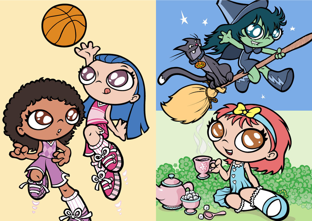 HOOPS GIRLS; HALLOWEEN GIRL; TEA THYME GIRL