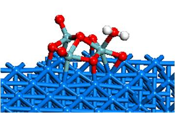 Figure 2: DFT-calculated structure of a H2O molecule adsorbed on Nb3O7 on Cu(111)