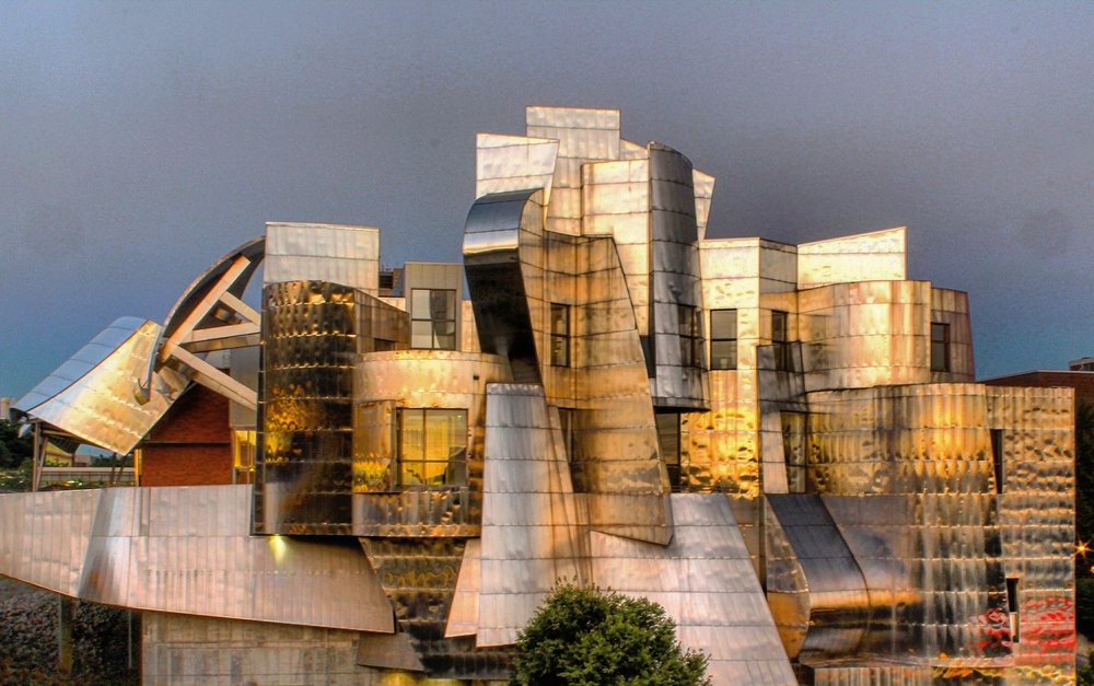 The Weisman Art Museum reflecting the sunset