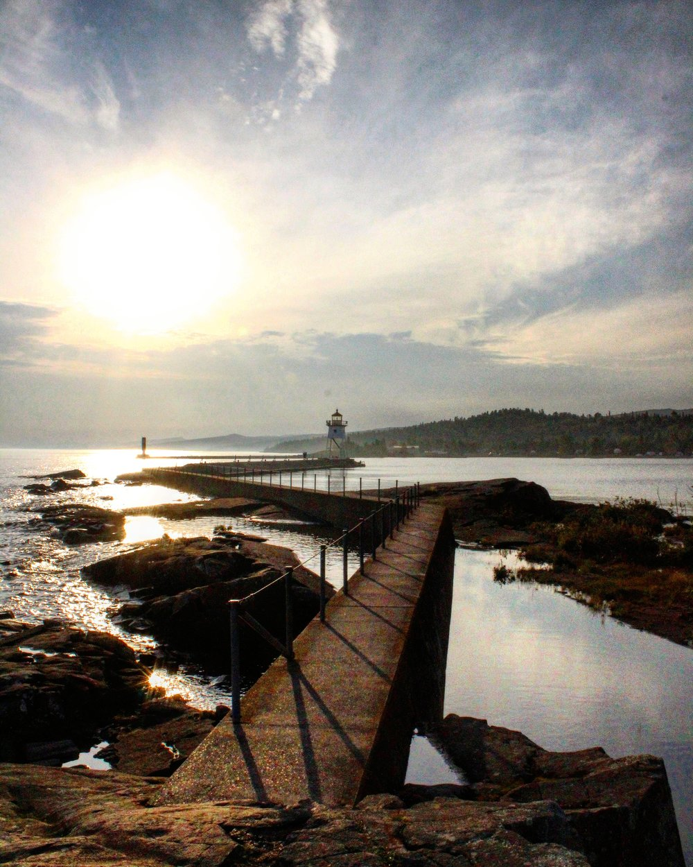 Grand Marais Harbor breakwater and lighthouse