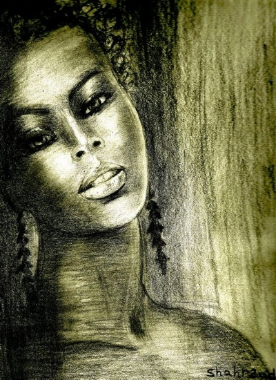 Black Woman Pencil Drawing by Shahrzad Ranj
