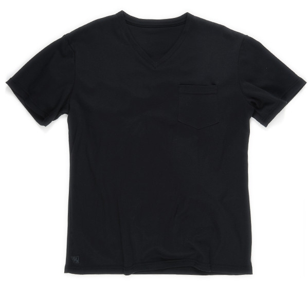 2de8498e2db8 1898 V Neck Pocket Tee - True Black