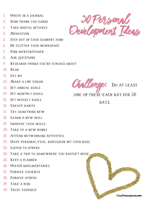 30 Personal Development Ideas
