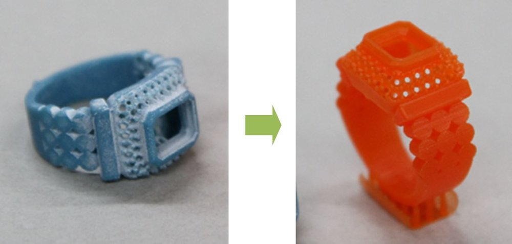 Image 10 -- Original product (left) and reverse engineered rapid prototype (right)