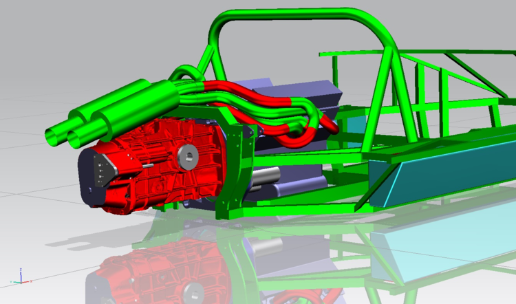 The Geomagic Studio gearbox model (in red) positioned within the NX CAD model of the GT40's structure.