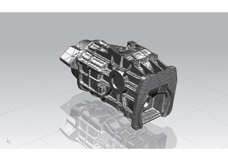 The final Geomagic Studio 3D surface model of the gearbox casing generated from the Solutionix Rexscan 4 scanner data.